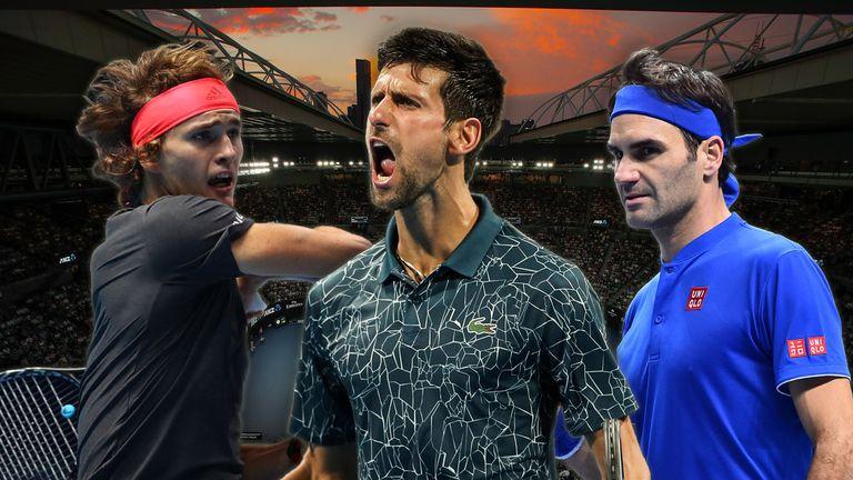 Alexander Zverev (l.) gehört zusammen mit Novak Djokovic (Mittel) und Roger Federer (r.) zum Favoritenkreis bei den Australian Open.