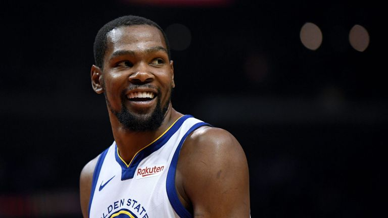 Kevin Durant smiles during his 50-point performance in the Warriors' Game 6 win over the Clippers