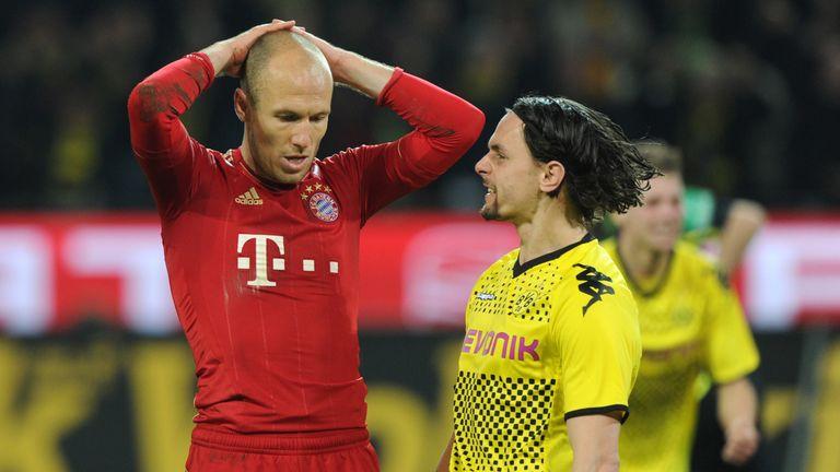 Es folgt ein vor allem für Robben sehr unglückliches Jahr 2012. Im Spitzenspiel gegen Borussia Dortmund verschiesst er einen Elfmeter.