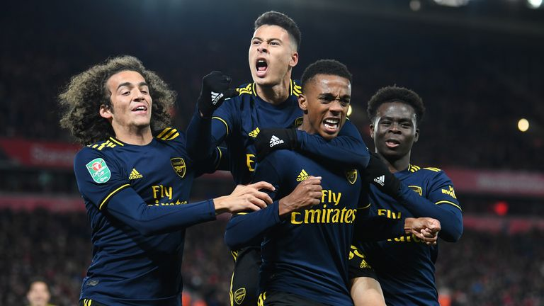 Arsenals Youngster Matteo Guendouzi, Gabriel Martinelli, Joe Willock und Bukayo Saka (v.l.n.r.)